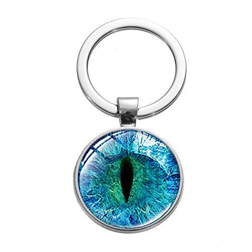 Llavero de ojo de dragón retro dragón arte foto llavero hecho a mano Cabujón cristal llavero anillo accesorios moda regalos mujeres