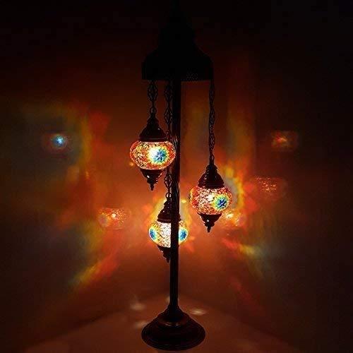 Raelf Mediterránea de cristal del piso del estilo mosaico de la lámpara luz de la noche-MC7X3 Tipo de lámpara Lámpara de pie retro sala de estar dormitorio romántico estilo étnico hecho a mano 3 Jefes