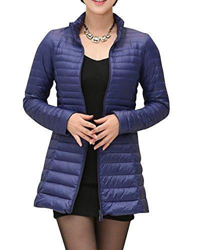 Damen Große Größen Mittellange Daunenjacke Leichte Verpackbare Bepackbare Steppjacke Dunkelblau S
