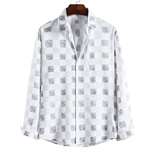 SSBZYES Camisas para Hombres Camisas De Manga Larga Camisas a Cuadros para Hombres Moda para Hombres Negocios Informales Camisas De Solapa a Cuadros De Manga Larga Camisas Casuales