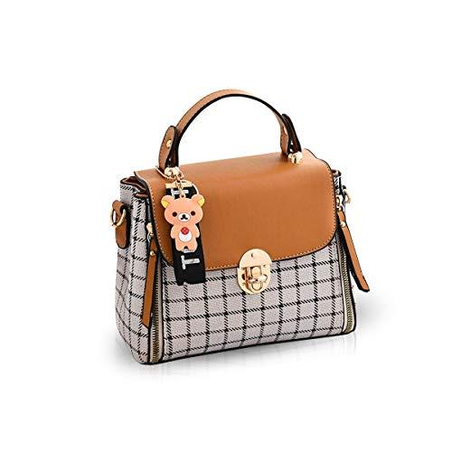 NICOLE&DORIS Handtaschen für Damen Niedliche Umhängetasche Mädchen Reißverschluss Handtasche PU Leder Schultertasche Crossbody Bag Braun