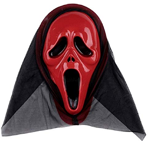 KIRALOVE Máscara de Grito para Disfraz - Monstruo - Disfraces de Mujer - Halloween - Carnaval - Asesino - Rojo - Adultos - Unisex - Hombre - niños - Idea de Regalo Original