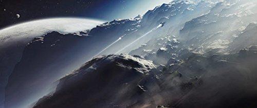Ein Alien-Scout-Schiff entkommt einem Terra-Schützschiff während eines Rennens fürs Leben; Posterdruck von Tomasz DabrowskiStocktrek Images (34 x 22)