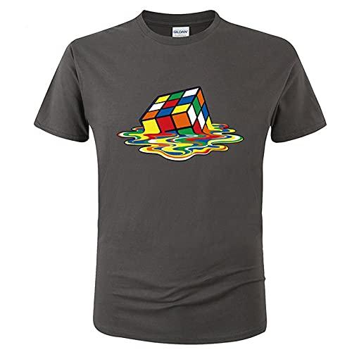 Hombres Camiseta de Moda de Verano Ocasionales Respirables del Color sólido de Manga Corta Camiseta con el Cubo de Rubik Impresión gráfica