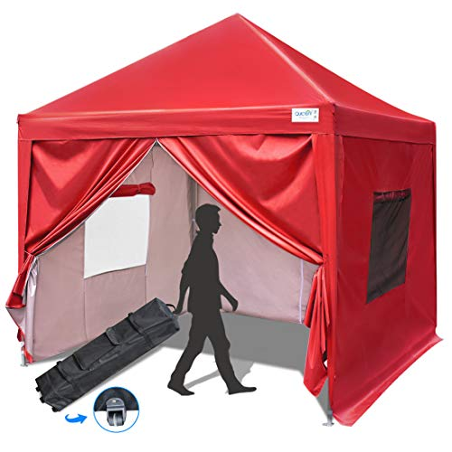 Quictent Privacy 8x8 Ez Pop up Canopy Tent Enclosed Instant Canopy Shelter Protable with Sidewalls and Mesh Windows Waterproof (Red)