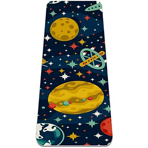 Nave Espacial Space Star Planet Esterilla de Yoga TPE Lindo tapete Antideslizante para el Suelo con Bolsa para Mujeres Hombres niños Adultos 183x61cmx0.6cm