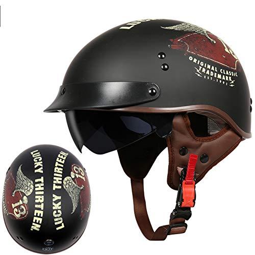 YHDQ Motorrad-Helm für Damen und Herren, mattes Schwarz