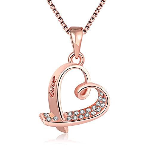 HAOXUAN Collar en Forma de corazón, Collar con Colgante y Chapado en Oro de 18 Quilates para Mujer, joyería de Aniversario de la Esposa, Regalo de la Madre, 18 Pulgadas