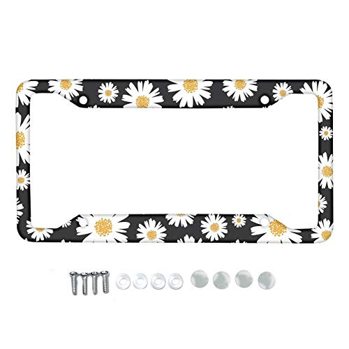 Amzbeauty Heavy Duty Metal License Plate Frame Daisies Decorative for Any Vehicles, Weather Proof License Plate Holder with 4 Holes and Screws