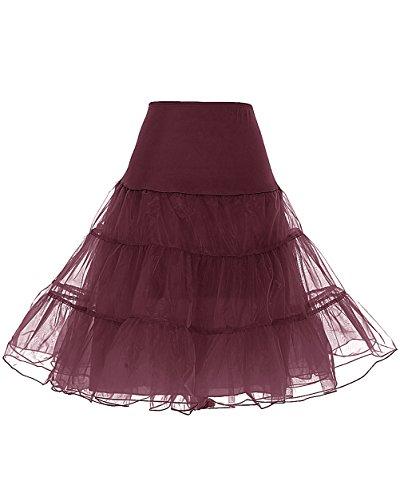 DRESSTELLS 50s Sottogonna Petticoat Organza Retro Vintage Mini gonne Puffy Rockabilly Burgundy S