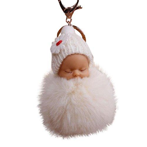Gaddrt 8 cm Pompon niedlicher flauschiger Plüsch-Schlüsselanhänger für Baby-Puppe, Schlüsselanhänger, Taschen, Charm-Anhänger, Beige
