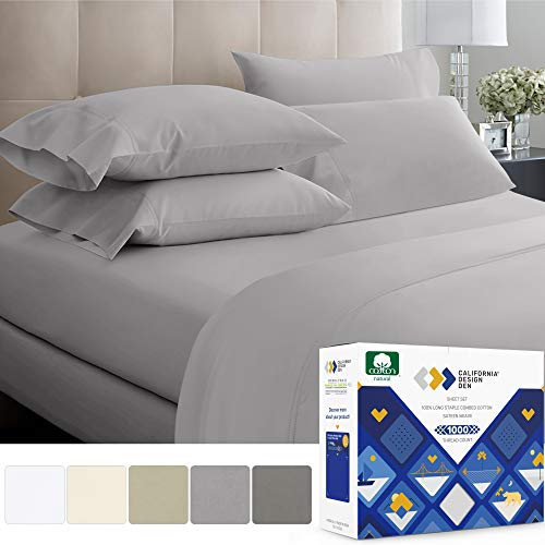 Light Gray Sheets King Size - 1000 Thread Count 100% Natural Cotton, Comfortable Sateen Weave 4 Piece Sheet Set, Elasticized Deep Pocket Fits Low Profile Foam and Tall Mattresses