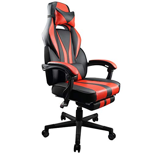 Gaming Chair Racing Ergonomic PU Leather Office Swivel Recliner Footrest chair footrest gaming