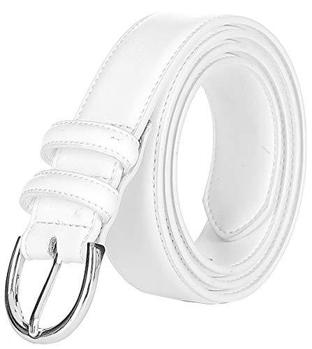 Falari Women Genuine Leather Belt Fashion Dress Belt With Single Prong Buckle 6028-White-M