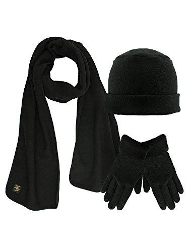 Black 3 Piece Fleece Hat Scarf & Glove Matching Set