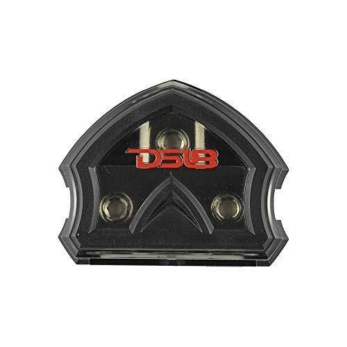 DS18 DB1030 Distribution Ground Block - 1 x 0GA in/ 3 x 0GA Out, Nickle Plated Internal Materials, High-Strength Heat Resistant Plastic Housing, Oversized Screws for Secure Connections (1 in 3 Out)