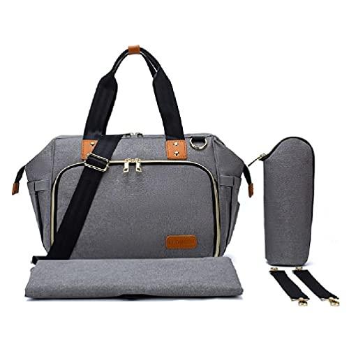 xllLU WEDFTGF Bolsa de pañales de gran capacidad para viajes, cuidado del bebé, bolso de hombro con bolsa de biberón, correas de cochecito de bolsillo para mamá papá