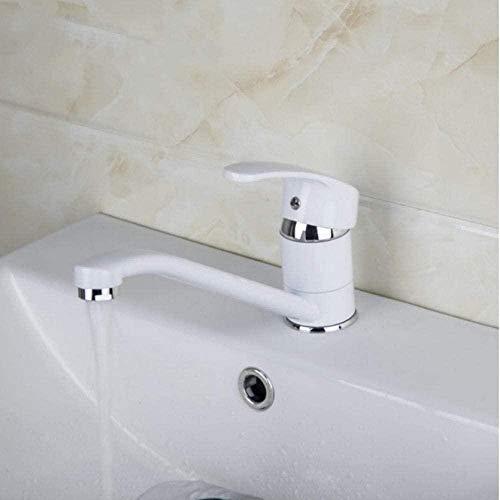 Cocina Monomando Baño Pintura blanca Grifo mezclador caliente y frío Grifo de lavabo de latón macizo Mezclador de fregadero cromado