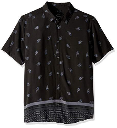 RVCA Herren LUX Short Sleeve Woven Botton Front Shirt Button Down Hemd, schwarz, Groß