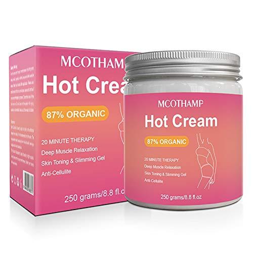 Crema de masaje caliente, 250g Crema caliente para celulitis, Crema reafirmante adelgazante, Quemador de grasa reafirmante adelgazante corporal anticelulítico para moldear cintura, abdomen, glúteos
