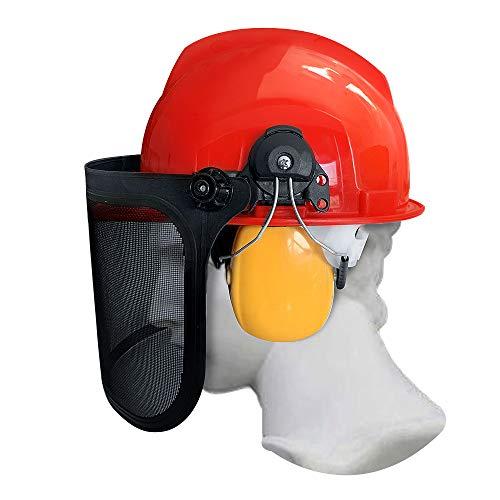 Forstschutzhelm mit Maschenvisier und Kapselgehörschützer Schutzhelm mit Visier, Gehörschutz und Augenschutz für Kettensäge Rasenmäher, Atmungsaktiver, SNR: 27dB/NRR: 24dB