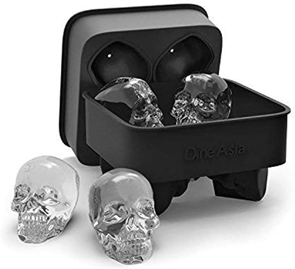 3D Skull Flexible Silicone Ice Cube Mold Tray Makes Four Giant Skulls Round Ice Cube Maker Black Pack Of 1