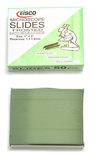 Eisco Labs Microscope Glass Slide - Frosted End - Pack of 50, Size 75 x 25 mm Thickness 1.1-1.2