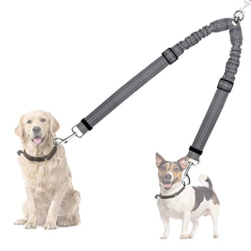 AUTOWT Double Dog Leash, No Tangle 360° Swivel Rotation Reflective Double Lead Adjustable Length Dual Two Dog Lead Splitter, Comfortable Shock Absorbing Walking for Two Dogs (Grey Leash) Review
