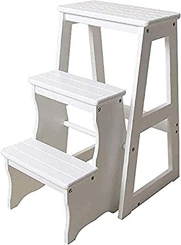 Taburetes de camas para camas altas Taburete portátil Taburete de tres niveles escaleras escaleras de taburete madera sólido madera escalera taburete Estantes plegables multifunción Silla de escalera