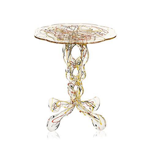 iPLEX - Tavolino da caffè Design Arabesco in plexiglass PMMA Trasparente con Schizzo Artistico colorato, Dim. 43x36x36 cm Made