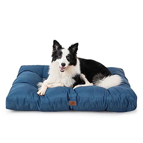 Bedsure Hundekissen Grosse Hunde waschebar - Hundebett Wasserdicht XXL für große, mittelgroße Hunde gepolstert Hundematte Navyblau in 10cm Höhe, 110x90cm