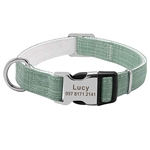 Hundehalsband Mode Nylon Personalisierte Hundehalsband mit eingraviertem Namen Hundehalsbänder Individuelle Welpen Hundehalsband ID-Tag for Small Medium Large Big Dogs (Color : Green, Size : M)