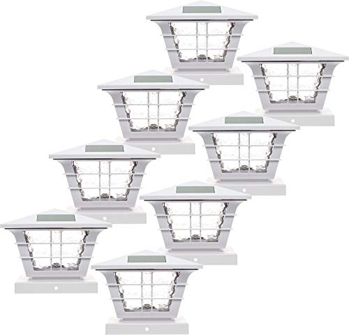 GreenLighting 8 Pack 5x5 Solar Powered Post Cap Light with 4x4 Base Adapter (White)