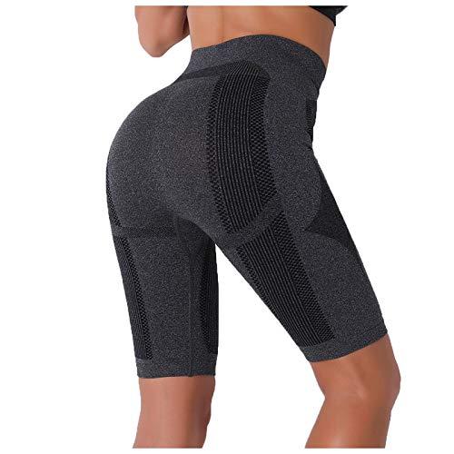 Pudyor Mujeres Pantalones Deportivos Shorts de Impresión Modas Pantalones Cortos de Cintura Alta Leggins Push up Pantalón Transpirables Elásticos Mallas de Yoga para Correr Gym Fitness