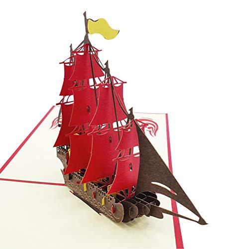 Tarjeta 3D - Barco de vela con detalles - Postal 3D - Para cumpleaños o amigo invisible