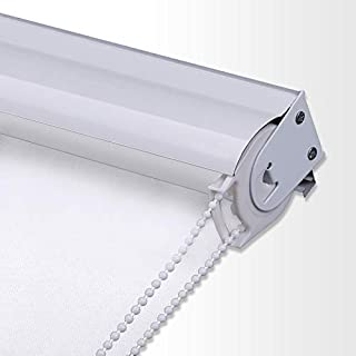 PASSENGER PIGEON Blackout Window Shades, Premium Metal Valance Thermal Insulated Fabric Custom White Roller Blinds Shades, 56
