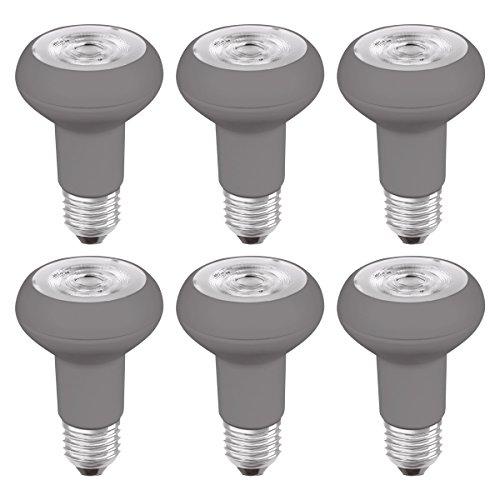 OSRAM LED STAR R63 / Réflecteur LED, Culot E27, 5W Equivalent 64W, 220-240V, Angle : 36°, Blanc Chaud 2700K, Lot de 6 pièces