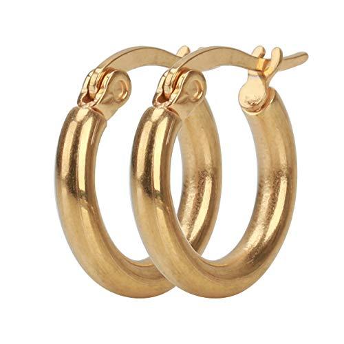 [silver KYASYA]両耳 フープピアス シルバー ゴールド ブラック リングピアス 金 銀 黒 316Lピアス フープ シンプルピアス ユニセックス 大きめ色:ゴールド、内径:10mm)
