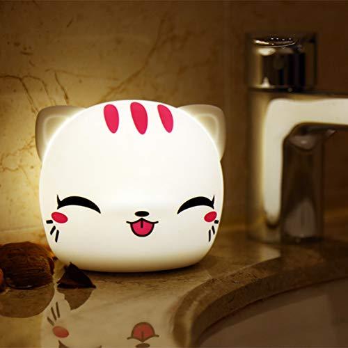 XHSHLID 7 kleuren kleurverandering siliconen cartoon cat nachtlicht batterij pet minal lampen baby Nursery Touch Sensor lampen, huisdecoratie voor kinderen