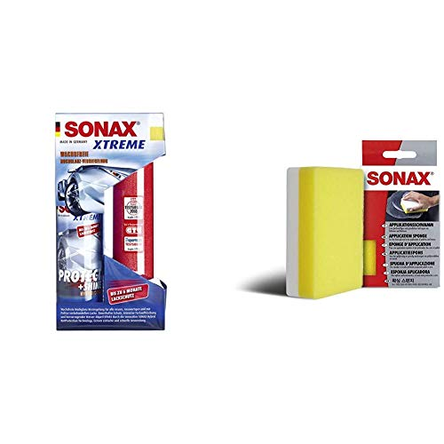 SONAX 222100 Xtreme Glanzversiegelung, 210ml & ApplikationsSchwamm (1 Stück) zum Auftragen und Verarbeiten von Polituren, Wachsen, Kunststoffpflegemitteln etc. | Art-Nr. 04173000