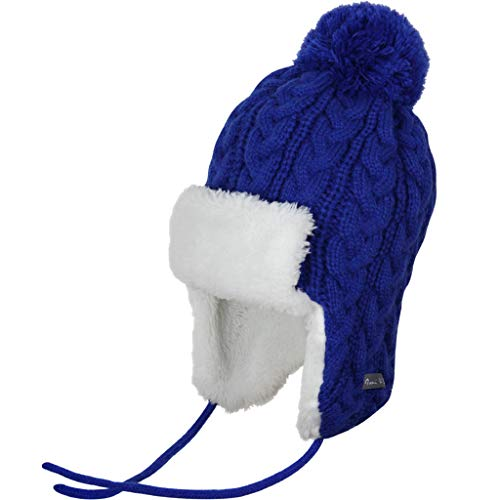 Ami&Li Infant Baby Boys Girls Kids Ultra Comfortable Knit Winter Trapper Hat with Cute Fuzzy Ball Royal Blue