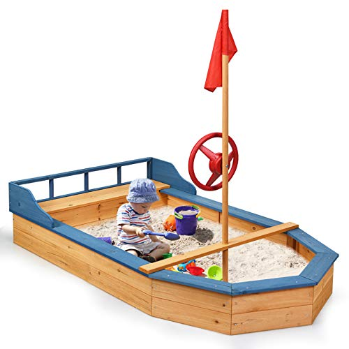 HONEY JOY Wooden Sandbox for Kids, Outdoor Children Pirate Sandboat Playset w/ Flag &Rudder, Bench Seat with Storage Space, Bottom Liner for Sand Protection, Outdoor Large Sand Boxes for Backyard