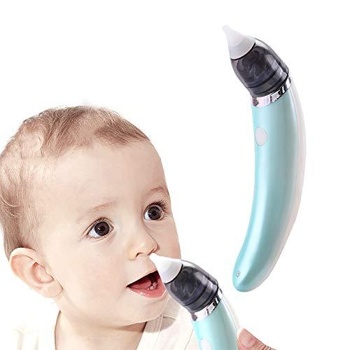 ZNEU Nasensauger Baby, Befreit Verstopfte Nasen Schnell und Sanft, Elektrischer Nasenreiniger & Ohrenschmalz-Entferner, mit Wiederverwendbaren Rotzsaugdüsen, Nasensauger für Neugeborene (Blau)
