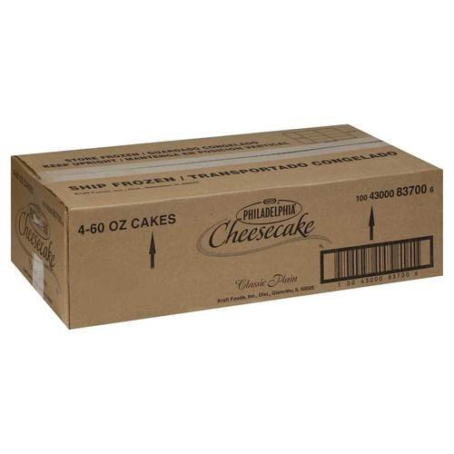 Kraft Frozen Philadelphia Plain Cheesecake, 60 Ounce -- 4 per case.