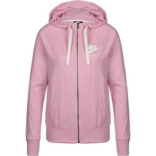 Nike Sportswear Gym Vintage - Chaqueta con Capucha para Mujer (Talla XL), Color Rosa y Blanco
