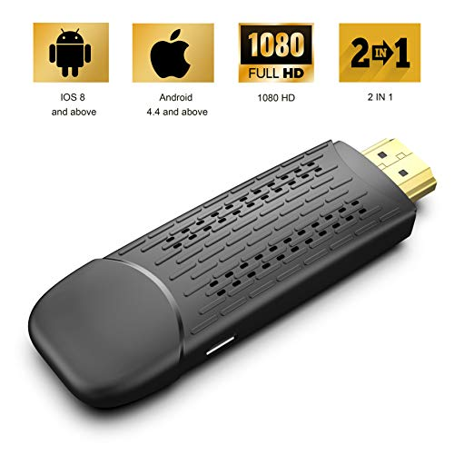 [2019 Model]Display Dongle Support Wireless and Wired 2 in 1 Display Receiver for TV/Projector 1080P HDMI Miracast Dongle Compatible for Android/iOS Smartphone,Tablet,iPhone,iPad,Laptop