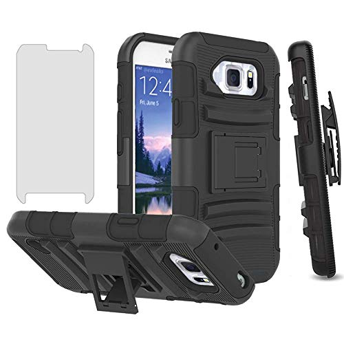 Phone Case for Samsung Galaxy S6 Active with Tempered Glass Screen Protector Cover and Holster Belt Clip Slim Rugged Hard Protective Cell Accessories Glaxay S6Active 6s S 6 6Active G890A Cases Black