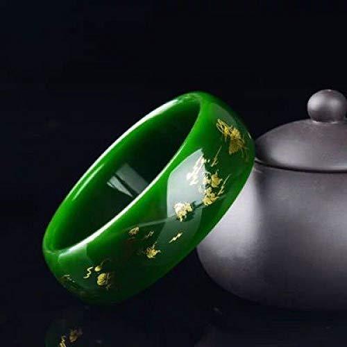 Kunze Damen Armreifen, Chinese Classcial Green Dragon und Phoenix Jade Armreif, Schmuck Natural Jadeite Jade Armbänder mit Geschenkbox, 56-64mm