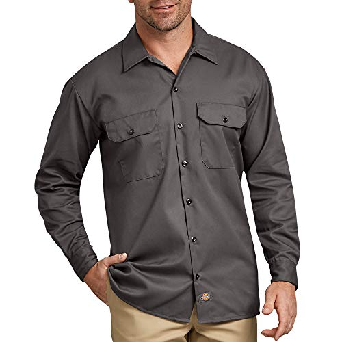 Dickies Men's Long Sleeve Work Shirt, Gravel Gray, M