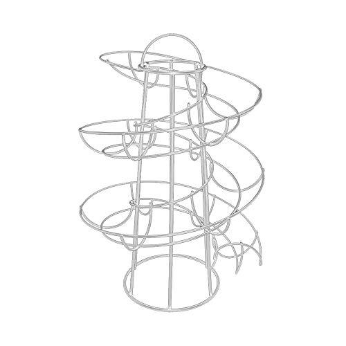 Dispensador de huevos Skelter con diseño de espiral, para cocina, soporte para huevos con capacidad para hasta 24 huevos (blanco)